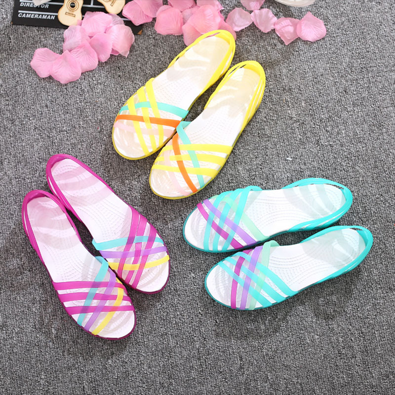 HTB1bS66miCYBuNkSnaVq6AMsVXaD MCCKLE Women Jelly Shoes Rainbow Summer Sandals Female Flat Shoes Ladies Slip On Woman Candy Color Peep Toe Women's Beach Shoes