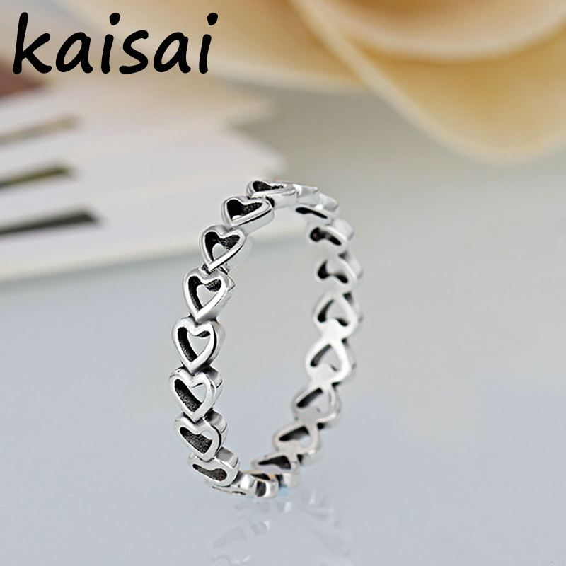 Octbyna Hot Sale Silver Color Linked Love Stackable Pandora Rings For Women Luxury Original Fine Jewelry Gift