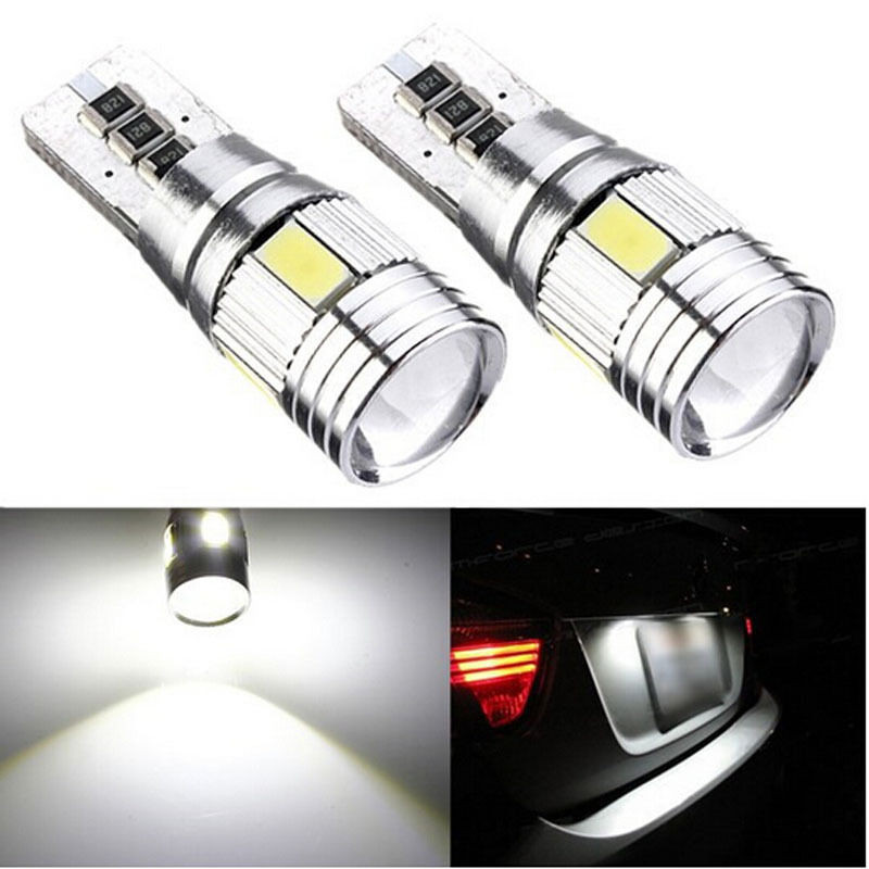 New 2x Xenon White LED Error Free Canbus 6SMD Side Wedge Light Bulb T10 194 168 W5W 10pcs super bright led lamp t10 w5w 194 6smd 4014 error free canbus interior bulb white for car dc 12v free shipping new