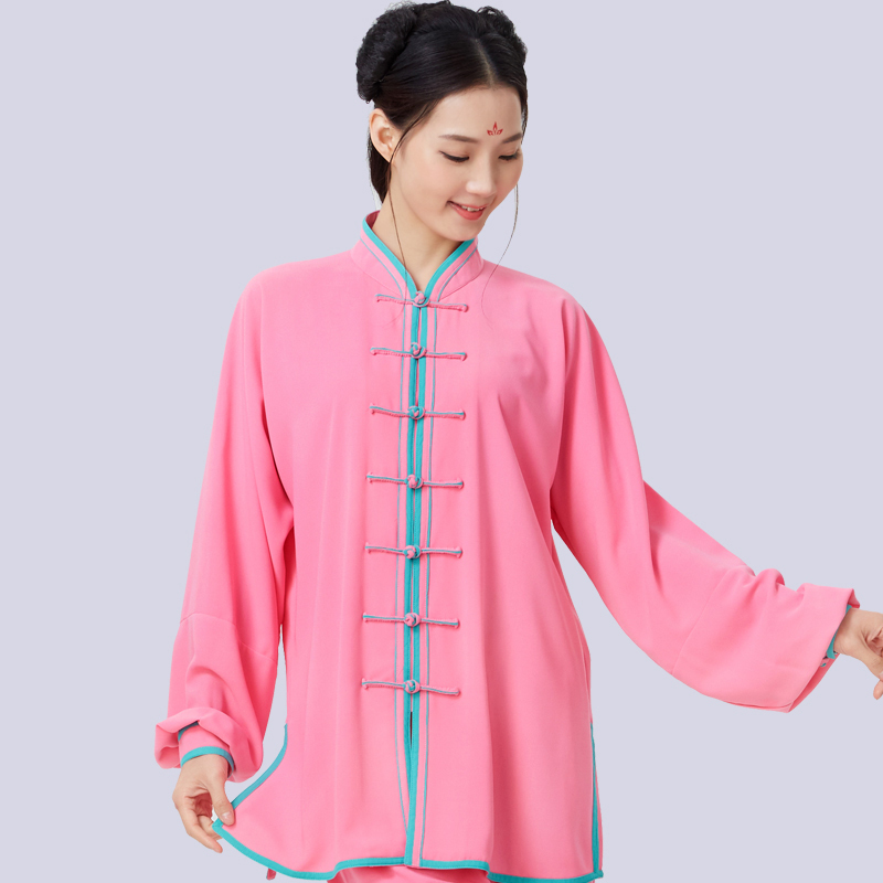 Male Female Handmade Linen Tai Chi Uniform Kung Fu Martial Art Suit  Chinese Stlye Clothes Pink Blue Purple Black