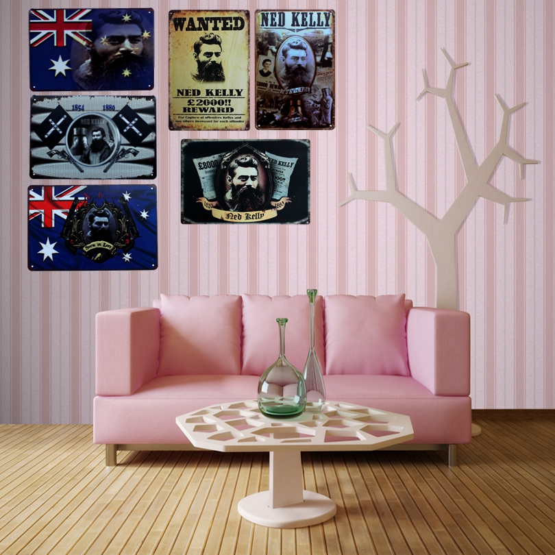 Ned Kelly Metal Movie Painting Tin Signs Wall Picture for Hotel Home - Home Decor