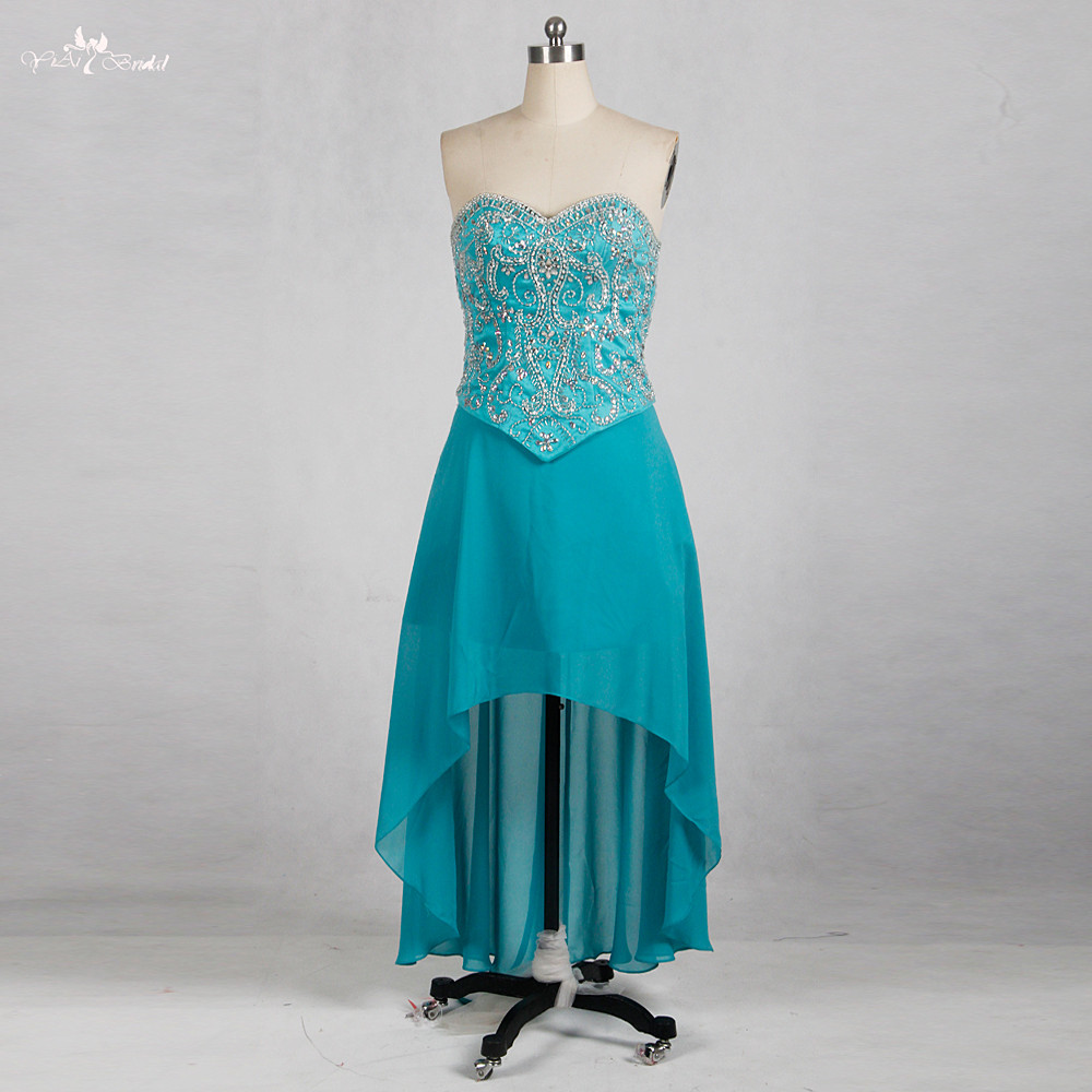 Online Shop RSE775 Short Front Long Back Rhinestone Turquoise Short ...