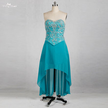 RSE775 Short Front Long Back Rhinestone Turquoise Short Two Piece Prom Dresses