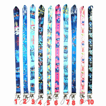 10PCS Mix 10 Style Cute Stitch Lanyard ID Badge Holder Lanyard Cuello Mobile Phone Rope Key Lanyard Neck Straps keychain