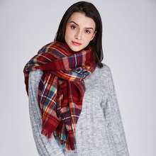 Women Scraves Shawls Winter Tartan Plaid Pashmina Beige  Cozy Wrap Warm Soft Fashion Scarf for women