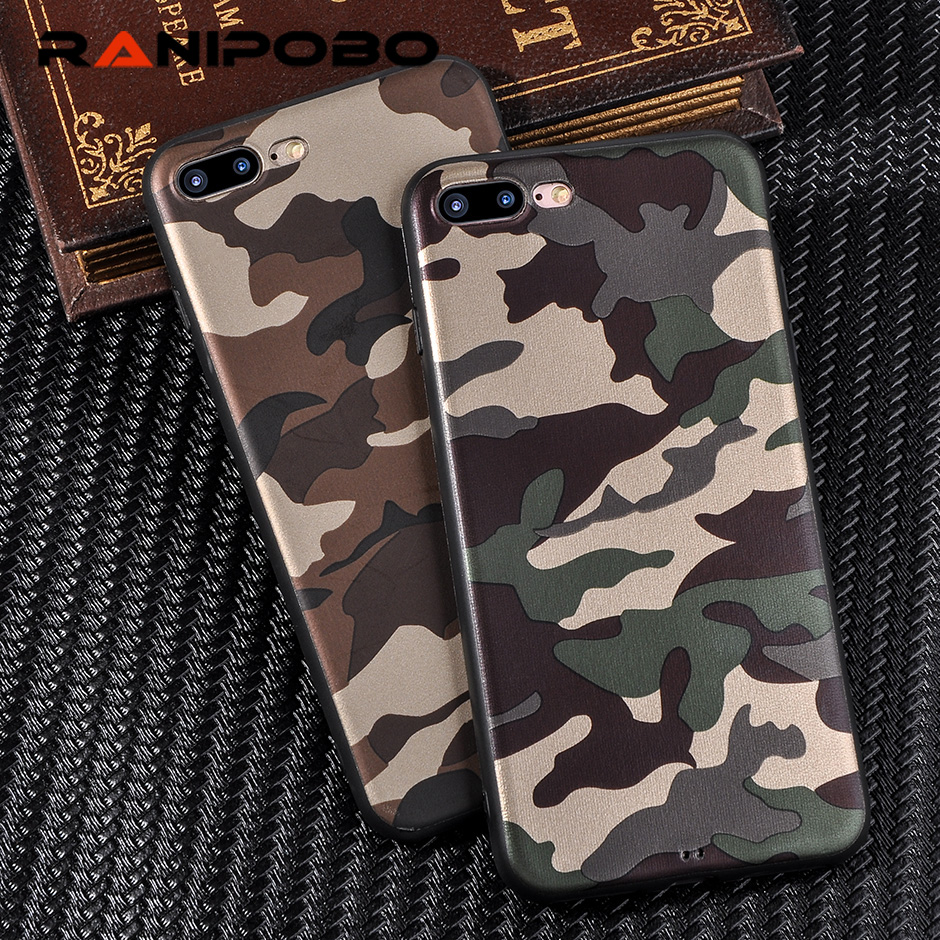 Cool Army Camo Camouflage Phone Cases For iPhone 7 7 Plus For iPhone 6 6S 7 Plus X 10 ArmyGreen Leather Soft TPU Cover Case