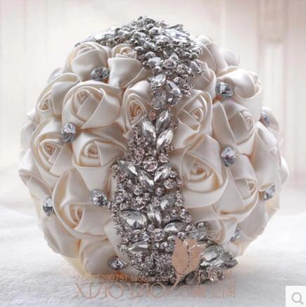 Buque De Noiva Crystals Wedding Bouquet Red Brooch bouquet wedding accessories Artifical Wedding flowers Bridal Bouquets