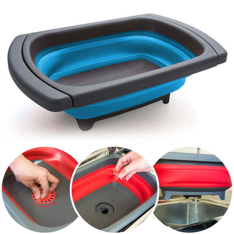 Fruit Vegetable Collapsible Colander Eco-friendly Foldable Kitchen Strainer Folding Drain Baskets With Retractable Handles