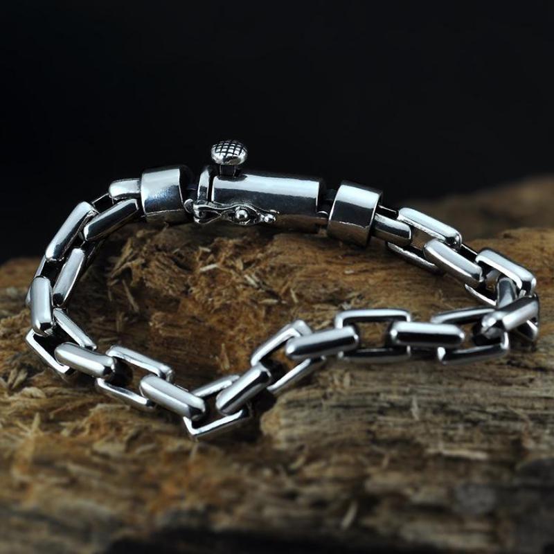 Véritable 925 Bracelet en argent Sterling pour hommes lisse Simple lien chaîne Vintage Punk mode Bracelet personnalisé bijoux masculins