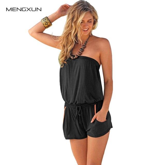 New Women Sexy Strapless Jumpsuit Word Shoulder Bra Beach Casual Piece Pants Jumpsuit Summer Shorts Off Shoulder Romper Lady