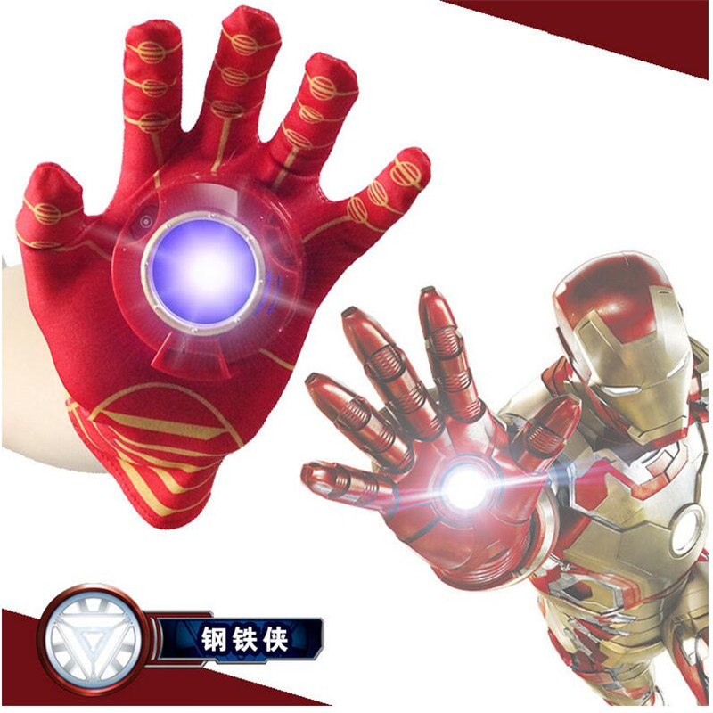 ФОТО 2016 new iron man glove action figure spider-man launchers toy kids suitable spider man cosplay costume with music and led light