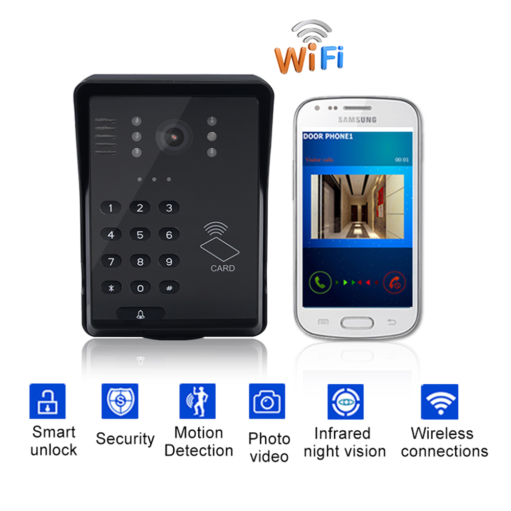 Wifi Video Doorbell Smart Video Intercom Wireless Video Door Phone RFID Password Door Phone Intercom System+Keyfobs Unlock