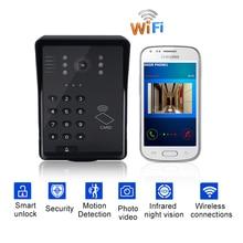 Wifi Video Kapı Zili Akıllı Video Interkom kablosuz görüntülü kapı telefonu RFID Şifre Kapı Telefonu interkom sistemi + Keyfobs Kilidini