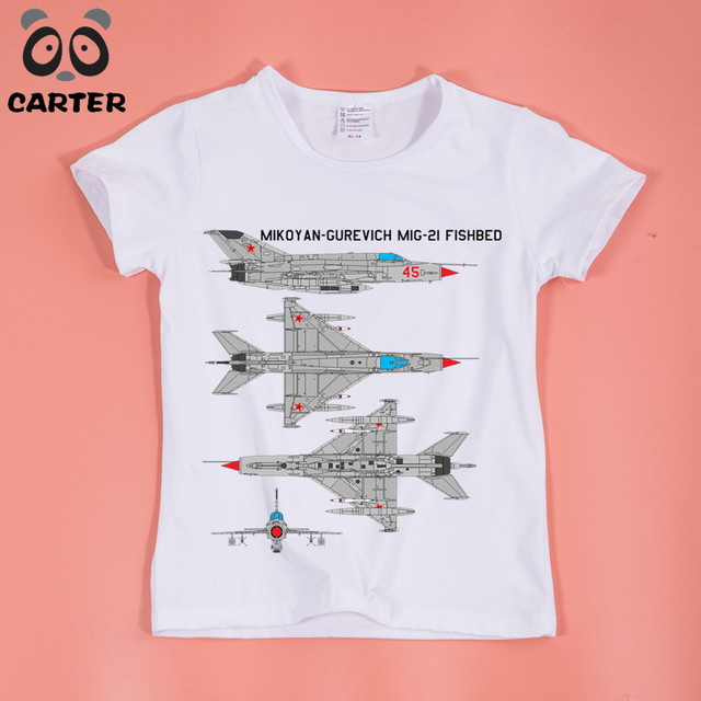 7c9df753061 US $6.69  Boys Girls MIG 21 Jet Air Plane Print T shirt O Neck Short  Sleeves Casual T Shirt for Kids-in T-Shirts from Mother & Kids on  Aliexpress.com ...