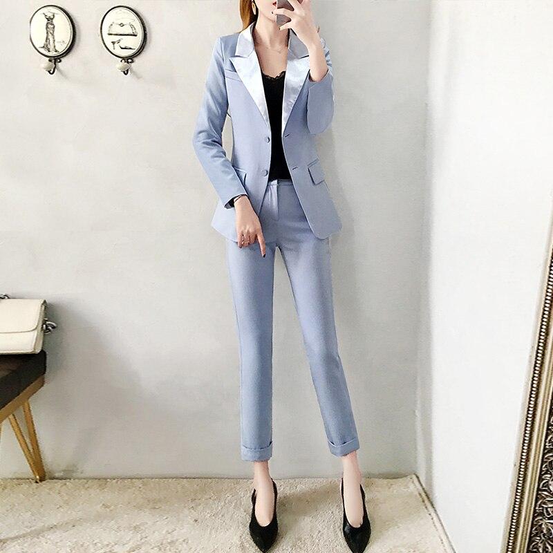 2019 las nuevas mujeres azul chaqueta pantalones trajes de Moda de Primavera de traje de corte Slim y lápiz pantalones de dos piezas de la Oficina señora profesional traje de - 2