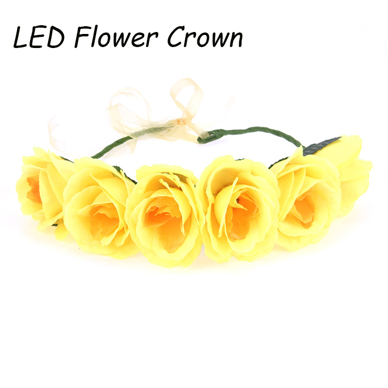 Cheap Big Flower Crown Yellow Flower Garland Christmas Flower Garlands Hair  Accesories Headwear Party Decoration LED Wreath 96c4ee98bdb