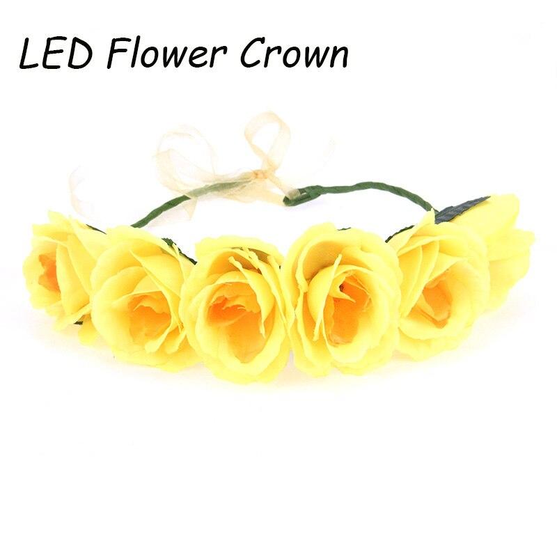 Cheap Big Flower Crown Yellow Flower Garland Christmas Flower Garlands Hair  Accesories Headwear Party Decoration LED Wreath d8166f61779