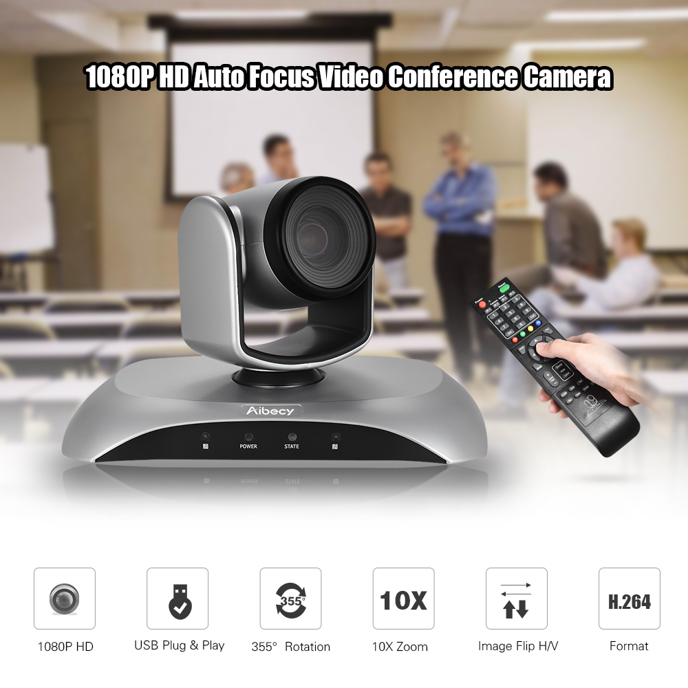 Aibecy 1080P HD USB Video Conference Camera 10X Optical Zoom AF Auto Scan Plug-N-Play with Infrared Remote Control for office стоимость