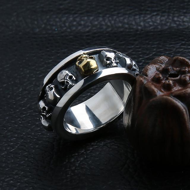 ORIGINAL 925 STERLING SILVER ROTATING SKULL RINGS