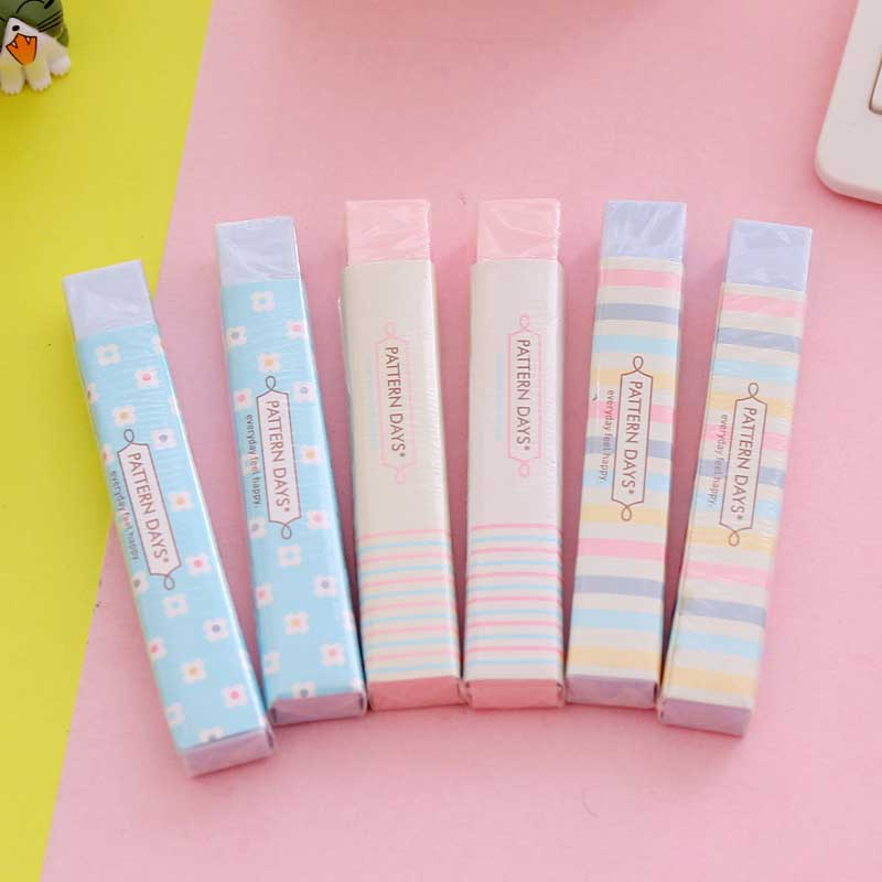 Cute Stripe Flower Rubber Erasers Kawaii Kids Gifts School Office Students Correction Pencil Erasers Korean Stationery
