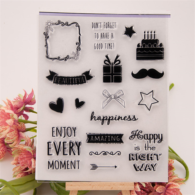 good time happiness letters design Clear Transparent Stamp DIY Scrapbooking paper Card for wedding gift RM-142 lovely animals and ballon design transparent clear silicone stamp for diy scrapbooking photo album clear stamp cl 278