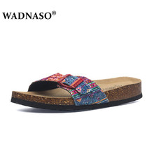 WADNASO New Summer Lover Beach Cork Slippers Casual Double Buckle Clogs Slides Women Slip on Flip Flop Shoe Plus Size 35-45 gktinoo genuine leather shoes hollow slippers handmade slides flip flop on the platform clogs for women woman slippers plus size