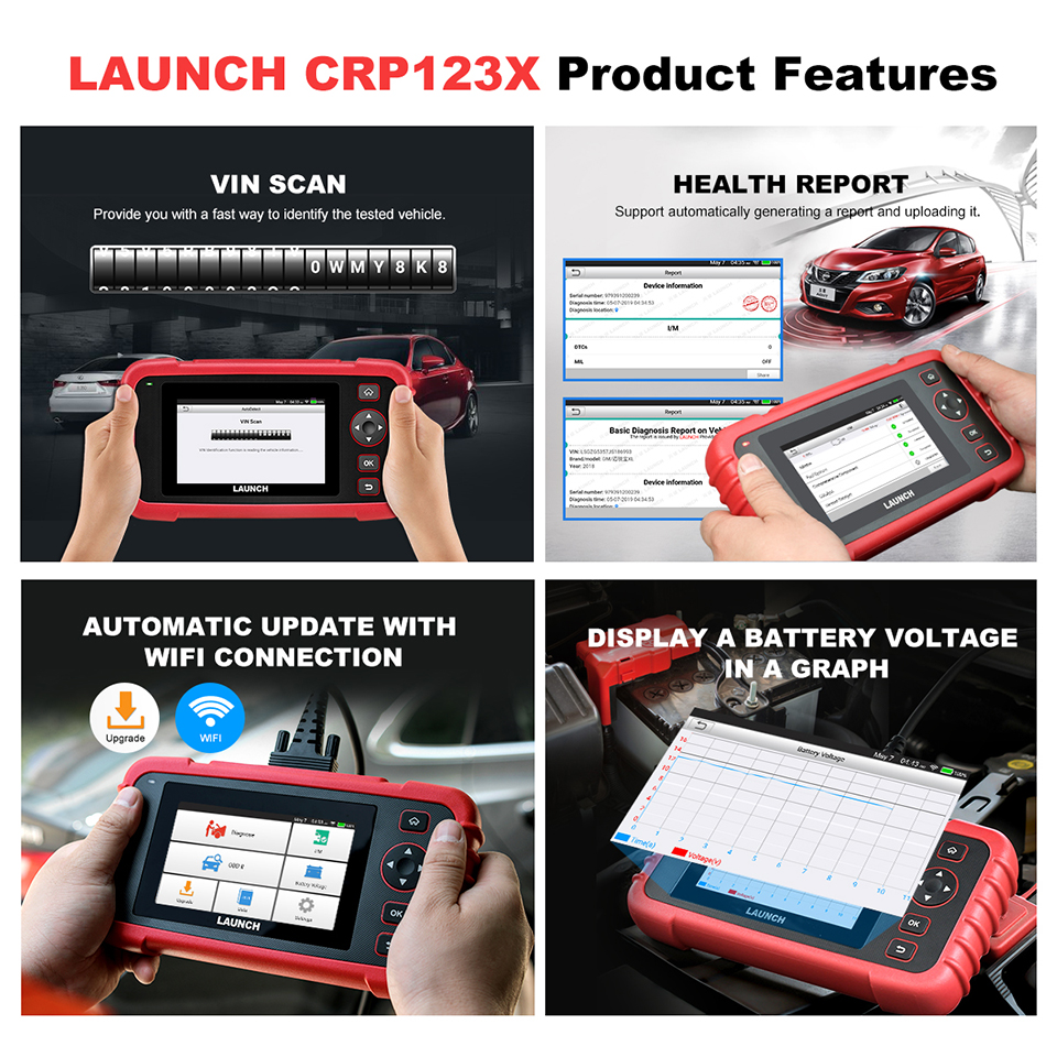 Image 4 - LAUNCH X431 CRP123X OBD2 Scanner Auto Code Reader OBDII Diagnostic Tool ENG AT ABS SRS Launch Scanner Car Automotive Tool crp123 on