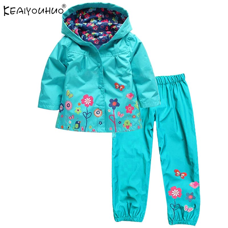 Spring Children Clothing Sport Suit Tracksuit For Girls Clothes Sets Raincoat Suits Coats Jackets+Pants Costume For Kids Clothes 2017 girls spring flowers suit girls clothes sprot hoodies set children clothing suits hooded jackets pants 2pc suits yl561