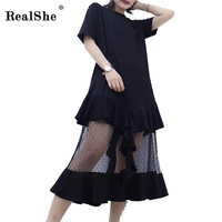 RealShe Fashion Summer Black Dress Women Short Sleeve O Neck Mid Carf Casual Dress T Shirt