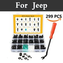 299pcs Car Push Retainer Kit Door Panel Trim Clips Rivets With Fastener Remover For Jeep Liberty Renegade Wrangler Commander