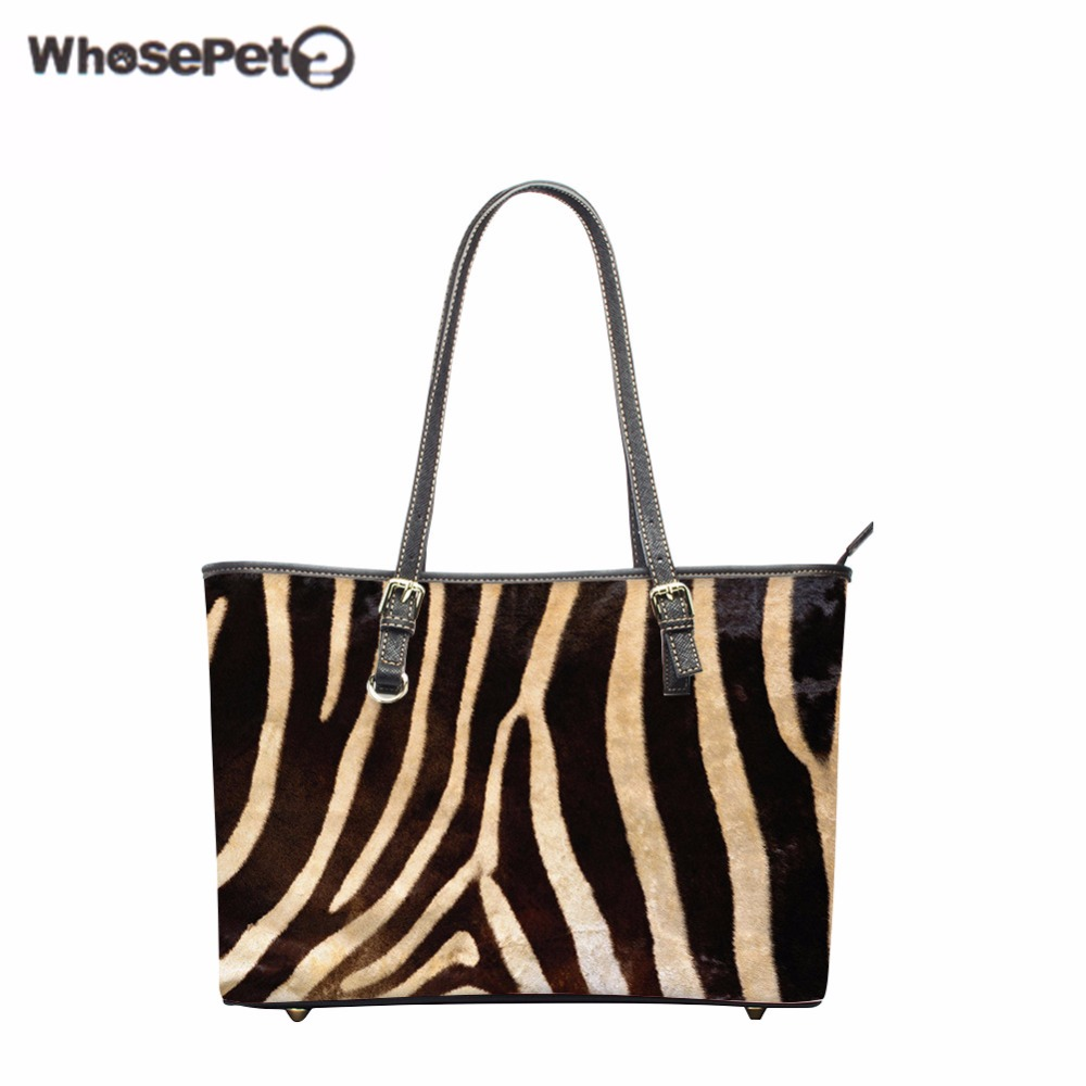 WHOSEPET Zebra Pattern Handbags Lady Top-Handle Bags High Quality Girls Handbag Fashion Woman Bag Shoulder Bag Pu Totes Bags New top quality 2018 new bag lady shoulder bag