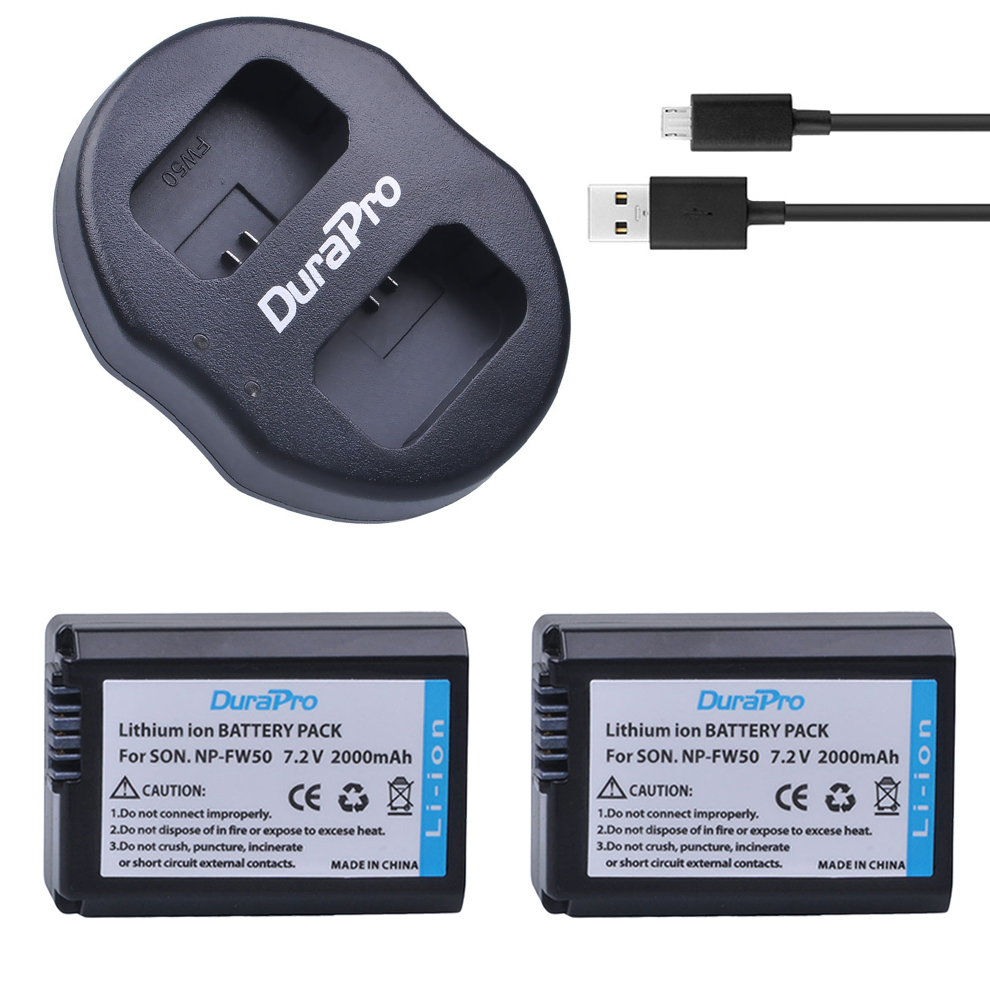 2Pcs NP-FW50 NP FW50 Camera Battery + Dual USB Charger for SONY A5000 A5100 A7R A6000 5T 5C 3N A7 NEX6 NEX7 NEX5TL NEX5R NEX5N kingma dual 2 channel np fw50 battery charger for sony a5000 a5100