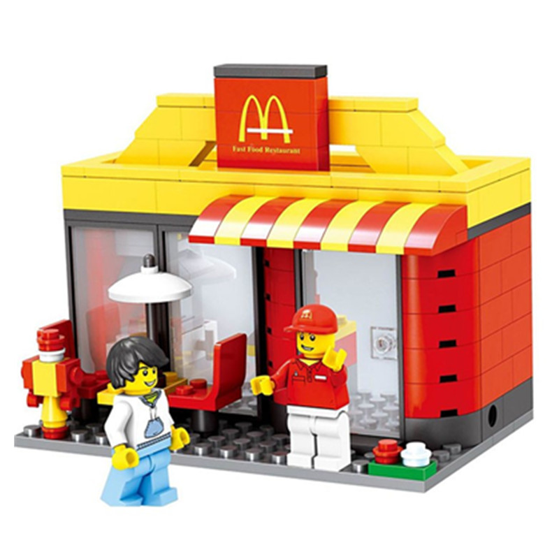 2018 City Series Mini Street Model Store Shop with Apple Store McDonald`s Building Block Toys Compatible with Legoingly Hsanhe loz mini diamond block world famous architecture financial center swfc shangha china city nanoblock model brick educational toys