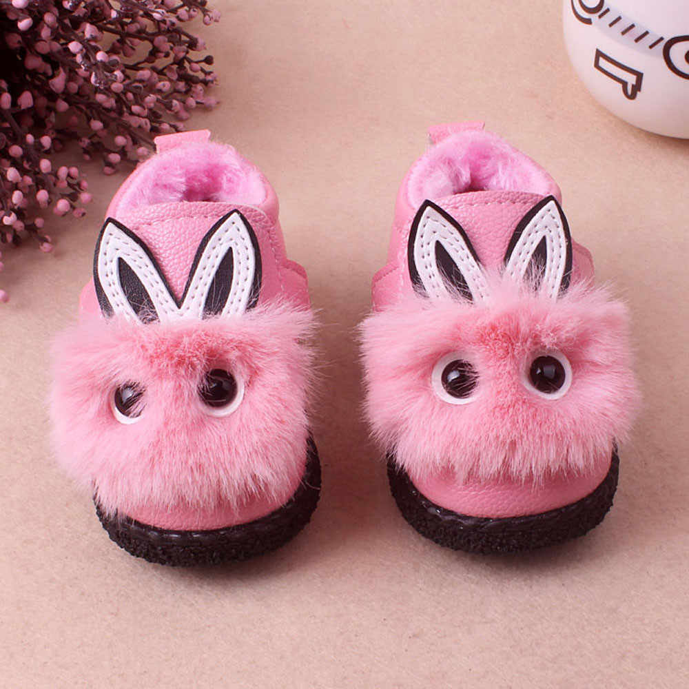 Детские зимние ботинки с милым рисунком для девочек на мягкой подошве; бархатные ботинки; теплая детская обувь с кроликом; зимние ботинки из искусственной кожи для детей; botas infantil