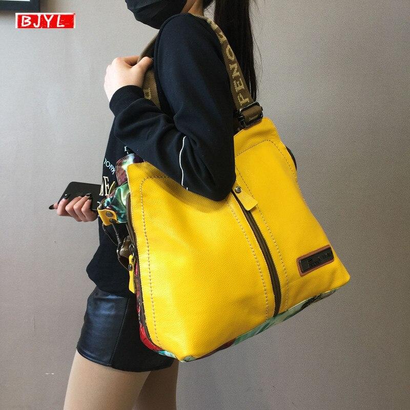2020 luxury fashion Women handbags female crossbody bag printing shoulder canvas bag portable slung genuine leather big bags| | - AliExpress