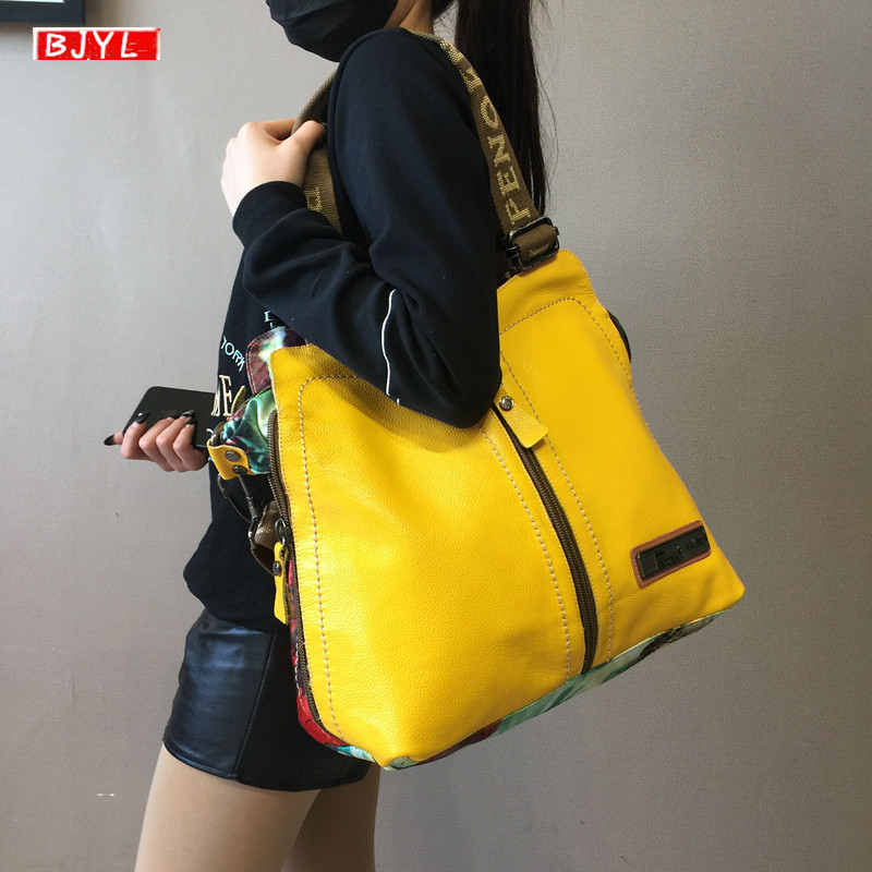 2020 luxury fashion Women handbags female crossbody bag printing shoulder canvas bag portable slung genuine leather big bags| | - AliExpress