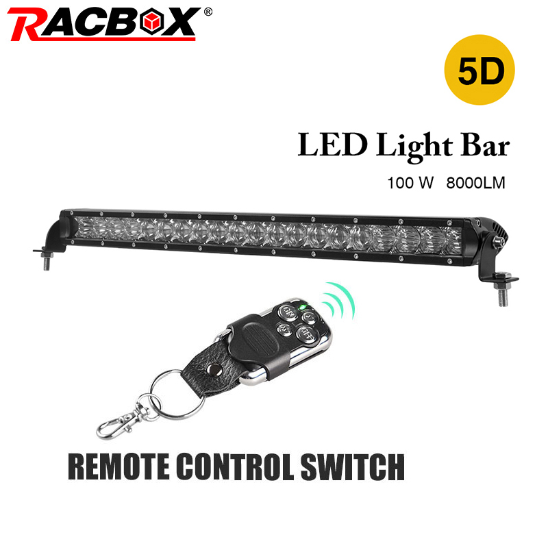 RACBOX 22 inch 100W 5D LED Work Light Bar Single One Row With LED Chips Combo Beam Straight Bar For Jeep Automobile SUV Offroad image