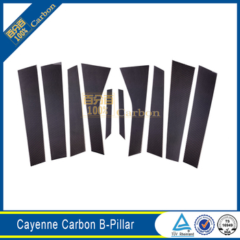 Carbon Fiber B&C Pillars Window Frame Cover Trims For Porsche Cayenne 2014-2017