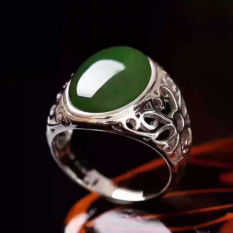 ขนาดสูงสุดเงินผู้ชายแหวน12*16มิลลิเมตร10ctธรรมชาติแหวนหยกสีเขียวสำหรับผู้ชายแข็งเงินแท้925แหวนหยกของขวัญที่ดีที่สุดสำหรับคน