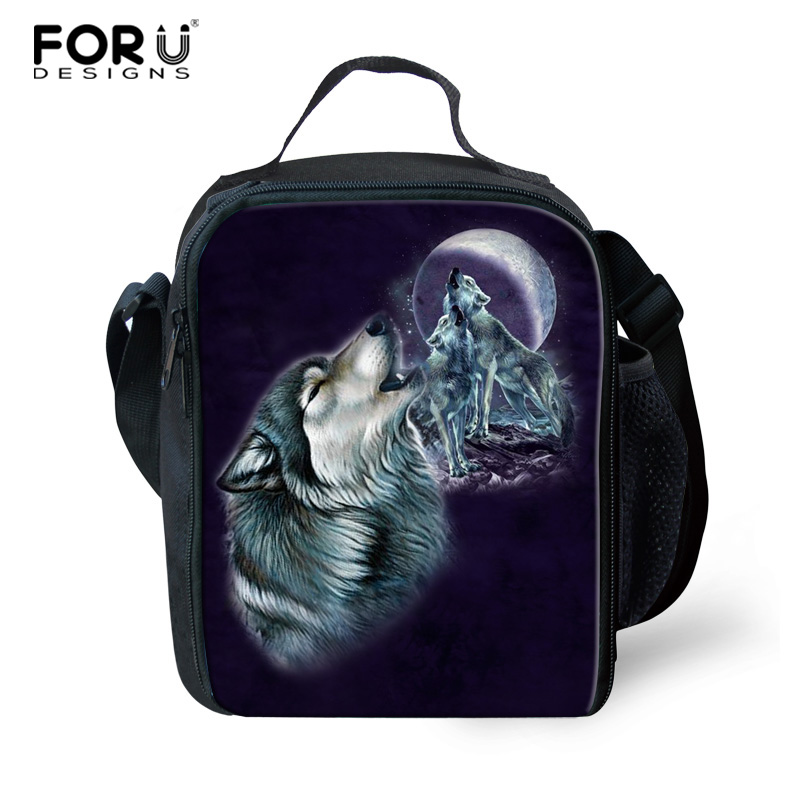 FORUDESIGNS Wolf Pattern Lunch Bag Food Insulated Box Picnic Bag Kids Thermal Bag for Worker Carry on Bag with Mesh Pocket