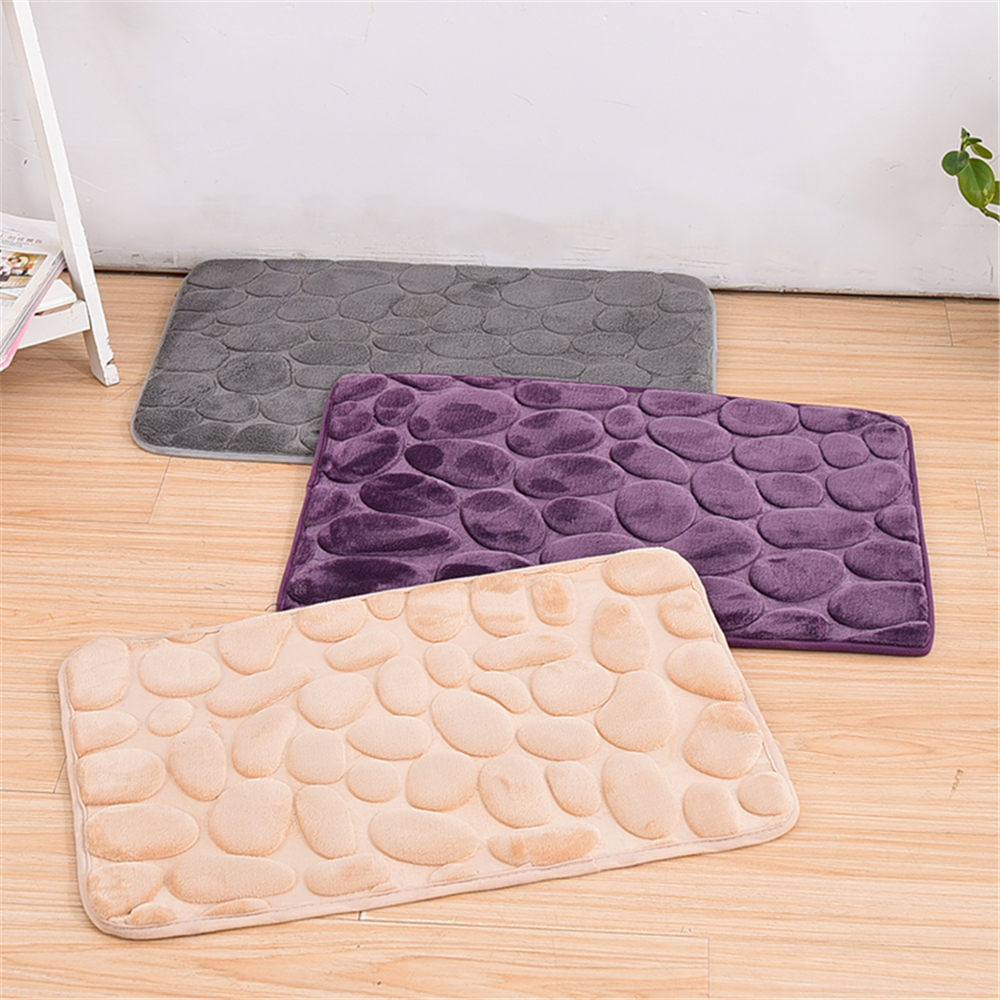 Best Promotion Simple Beautiful Grey Memory Foam Pebble Rock Bath Rug 60x40cm Non-Slip Microfiber Bath Mat Bathroom Product