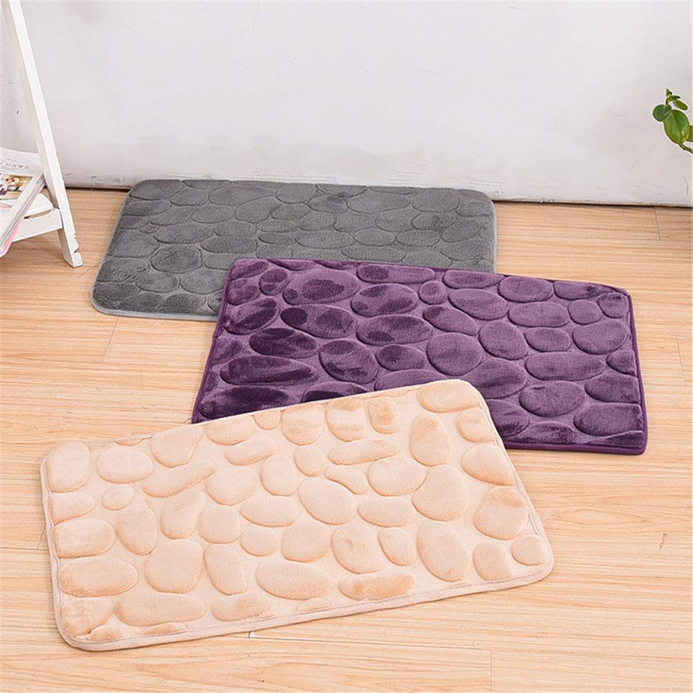 Best Promotion Simple Beautiful Grey Memory Foam Pebble Rock Bath Rug  60x40cm Non Slip Microfiber