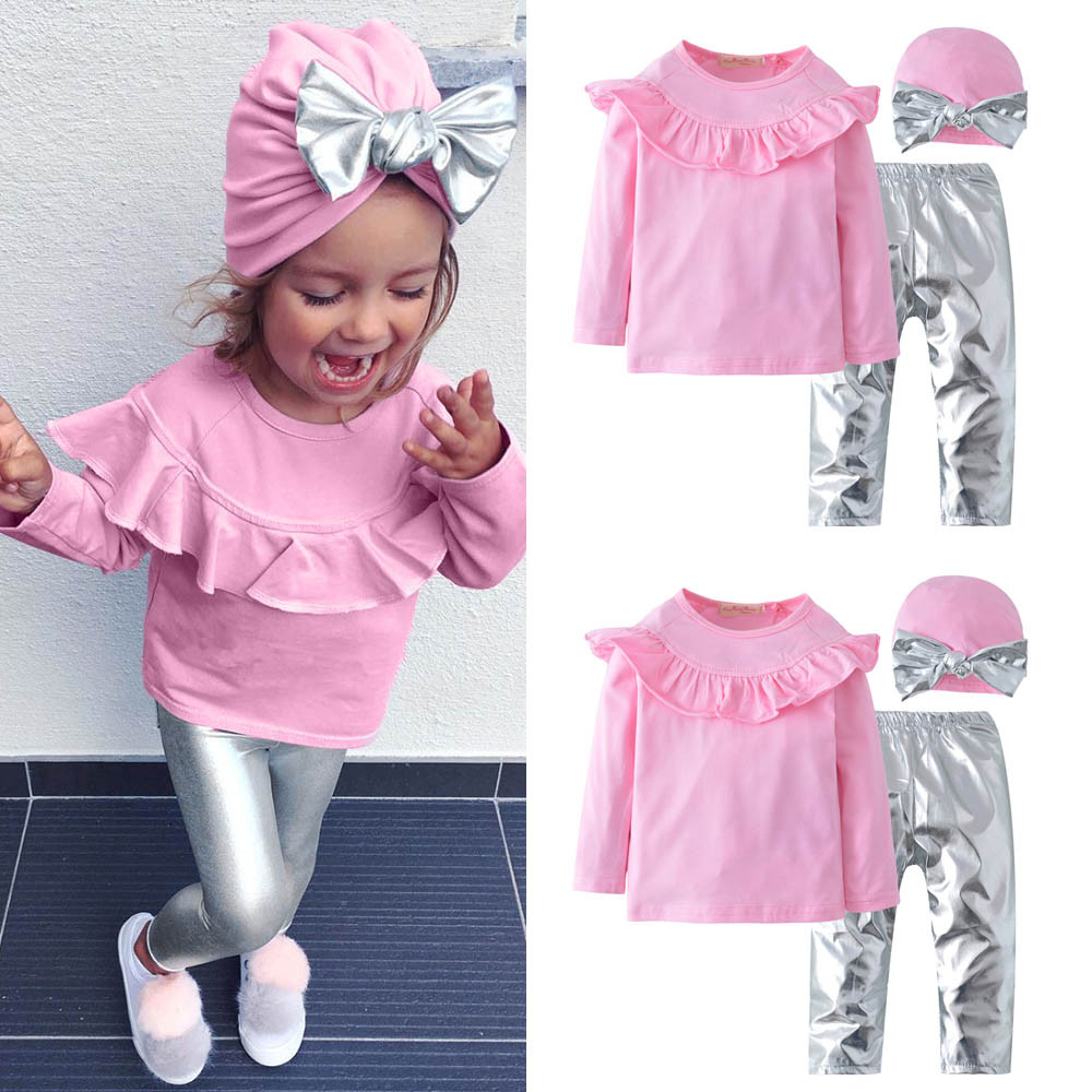 FashionToddler Kids Baby Girls Cotton Blend Long Sleeves Ruffles O-Neck Top+Pants+Hat Solid Clothes Outfit Sets 2018