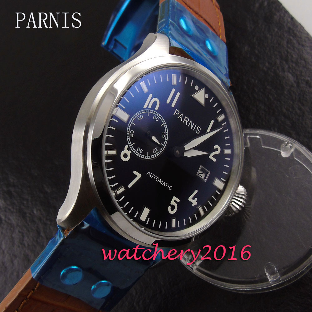 New 47mm Parnis Black Dial Leather stainless steel case Deployment Luxury Brand date window Automatic movement Men's Wristwatch 47mm parnis black dial complete calendar 2017 top brand luxury stainless steel case sea gull automatic movement men s watches
