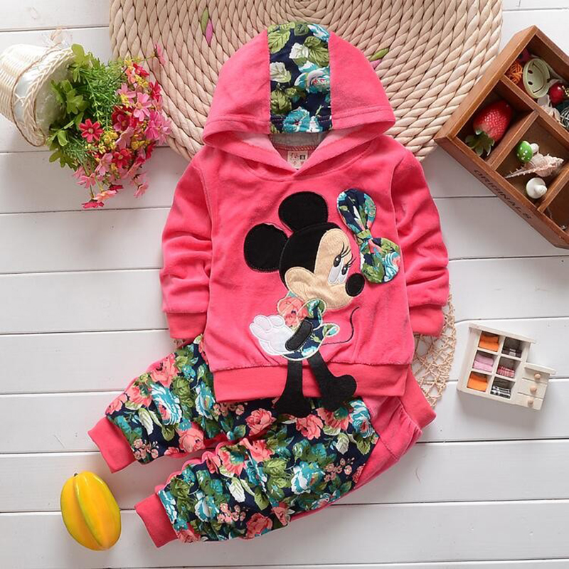 2019 Minnie Women Clothes Units Spring Informal Cotton Hooded Youngsters Garments Set Full Sleeve Women hoody Pants Children Clothes Clothes Units, Low cost Clothes Units, 2019 Minnie Women Clothes...