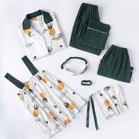 Cotton Spring Women Pajamas Set 7Piece/Set Sexy Print Pyjamas Long Pants Shirt Stitch Lingerie Home 2019 Top Fashion Sleepwear