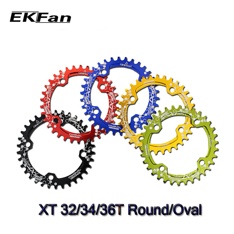 New XT EKFan 104BCD Bicycle 32T/34T/36T Narrow Wide Round Oval Cycle Chainwheel 7075 T6 MTB Bike Circle Crankset Plate|narrow wide|bicycle chainring|wide narrow - title=