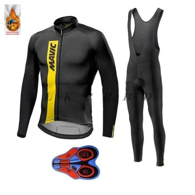 Winter Thermal Cycling Clothing 2018 Men Fleece Jersey Bike Bicycle suits  Cycling Kit Blue black Ropa Ciclismo 9D GEL 21 colors 9982955c5