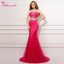 Alexzendra Lace Mermaid Pink Two Pieces Prom Dresses Beaded Crystals Long Evening Gowns Party Dress