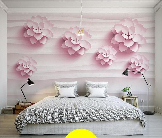 Super Custom 3D muurschilderingen, 3D stereo warm roze bloemen behang  RA34